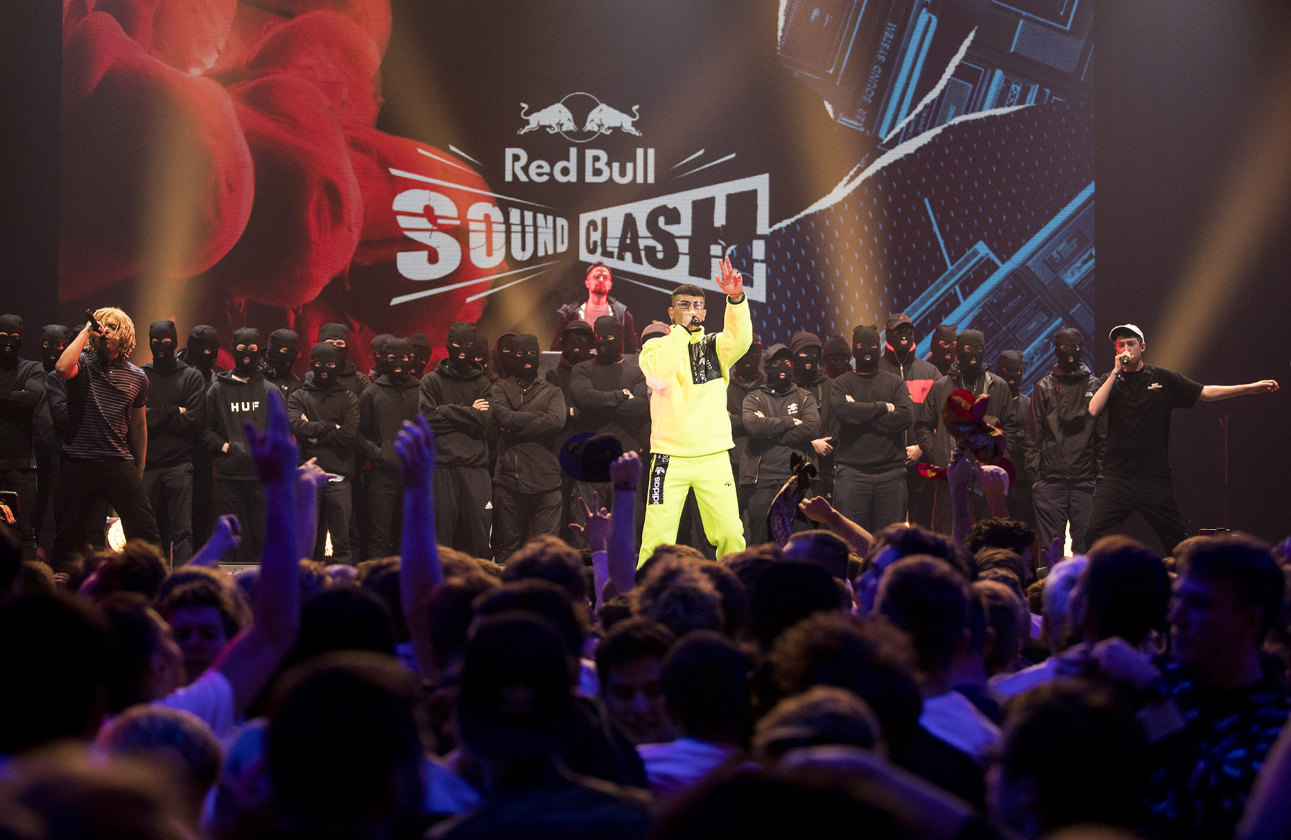 © Dirk Mathesius, CRACK IGNAZ, SOUFIAN & LGOONY is performing at Red Bull Sound Clash Stage, CRACK IGNAZ, LGOONY, SOUFIAN/ Team New Level VS. SAMY DELUXE, EKO FRESH, AFROB/ Team Reality Check, Client Red Bull, Hamburg